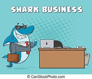 微笑, サメ, ビジネス, 上司