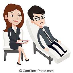 心理学者, セッション, 持つこと, patient.