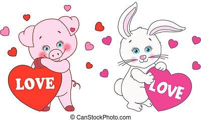 心, うさぎ, バレンタイン, 豚, day., ベクトル, 特徴, 保有物