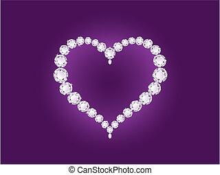 心, すみれ, ダイヤモンド, 背景, ベクトル