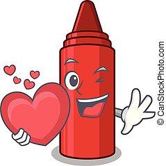 心, クレヨン, 漫画, 赤, 袋