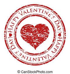 心, グランジ, バレンタイン, 切手, テキスト, 中, 隔離された, ゴム, stamp), 書かれた, ベクトル, (happy, 背景, イラストレーター, 白, 日