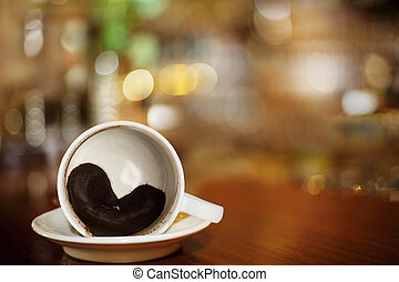 心, コーヒー, グラウンド, バー, カップ