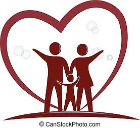 心, シンボル, 愛, 家族, ロゴ