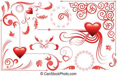 心, セット, 愛, バレンタイン