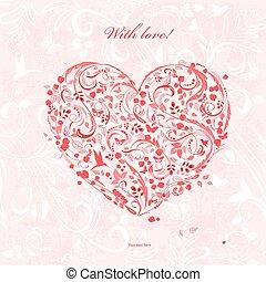 心, デザイン, 赤, 群葉, 招待, あなたの, カード