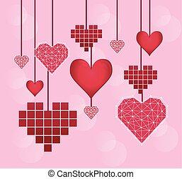 心, バレンタインデー, カード, 掛かること