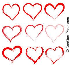 心, バレンタイン, バレンタイン, ベクトル, 心, 日, 赤