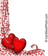 心, バレンタイン, ボーダー, 日, 赤