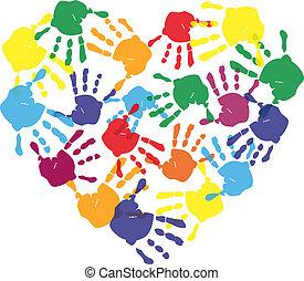 心, プリント, カラフルである, 手, 形, 子供