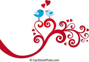 心, ベクトル, 愛, 渦巻, 鳥