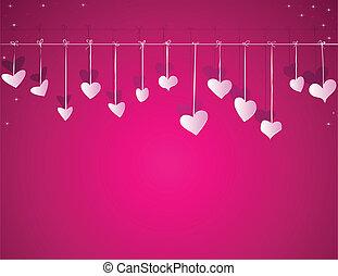 心, ベクトル, 日, 背景, バレンタイン