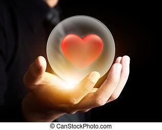 心, ボール, 水晶, 赤