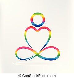 心, ヨガ, 形, ロゴ, 愛, 人