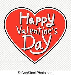 心, レタリング, バレンタイン, イラスト, 挨拶, ベクトル, 日, カード, 幸せ