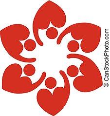 心, ロゴ, 愛, チームワーク, 形