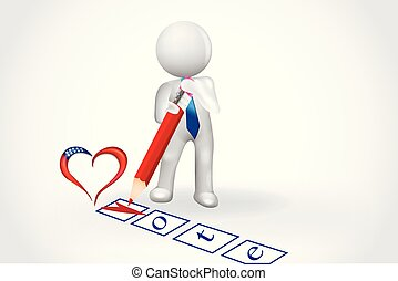 心, 人々, チェックリスト, -, 小さい, 投票, 3d