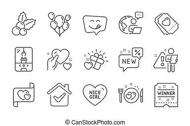 心, 勝者, ロマンチック, 把握, signs., アイコン, すてきである, 贈り物, 夕食, ベクトル, 愛, 女の子, 手紙, 切符, set.