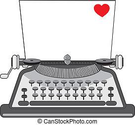 心, 古い, タイプライター
