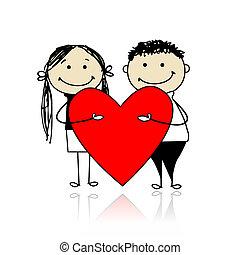 心, 大きい, 恋人, バレンタイン, day., デザイン, あなたの, 赤