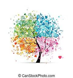心, 季節, -, 夏, あなたの, 木, 4, 秋, 芸術, winter., 春, 作られた, デザイン