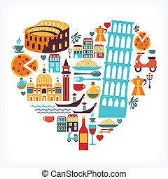 心, 愛, アイコン, -, 形, ベクトル, イタリア