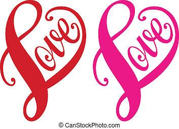 心, 愛, ベクトル, 赤, デザイン