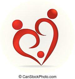 心, 愛, 家族, ロゴ