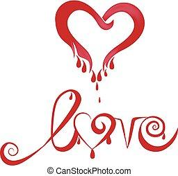 心, 愛, 血, ロゴ
