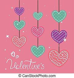 心, 掛かること, 日, カード, バレンタイン