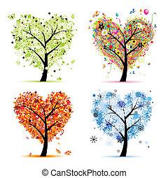 心, 木, あなたの, 春, 季節, winter., -, 秋, 夏, 芸術, 4, デザイン, 形