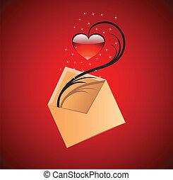 心, 概念, 愛, illustration., ベクトル, メッセージ, 赤
