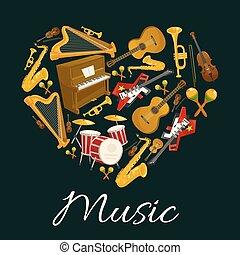 心, 紋章, 道具, 形, 音楽, ミュージカル