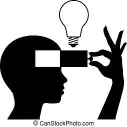 心, 考え, 学びなさい, 新しい, 教育, 開いた