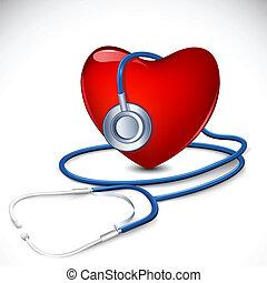 心, 聴診器, のまわり