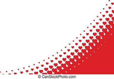 心, 背景, halftone, ベクトル, バレンタイン