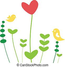 心, 花, 鳥