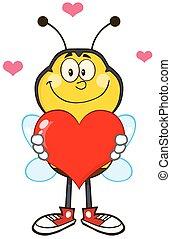 心, 赤, の上, 保有物, 蜂