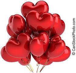 心, 風船, 愛, 赤, 形づくられた