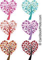 心, 鳥, ベクトル, 木