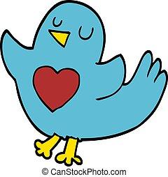 心, 鳥, 漫画, いたずら書き