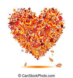 心, autumn!, 葉, 形, 愛, 落ちる