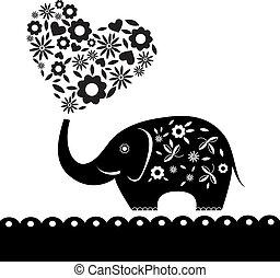 心, flowers., 象, カード, かわいい