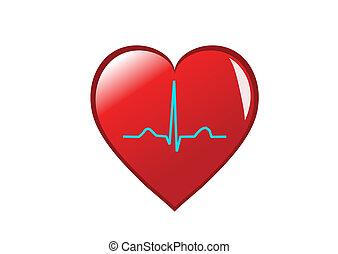 心, heart., 健康, それ, 隔離された, リズム, 描写, 湾曲, 白い赤