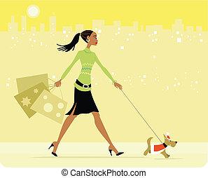 忙しい, 歩くこと, 女性買い物, 犬