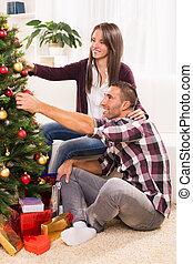 恋人, クリスマス, 幸せ