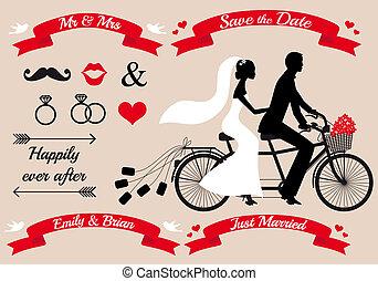 恋人, タンデム自転車, 結婚式