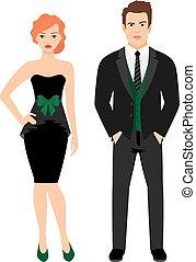 恋人, ファッション, 黒, 若い, 衣装