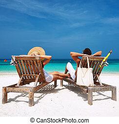恋人, モルディブ, 浜, 白, リラックスしなさい