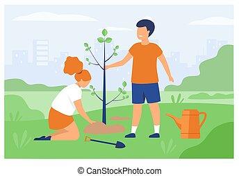 恋人, 子供, 屋外で, 園芸